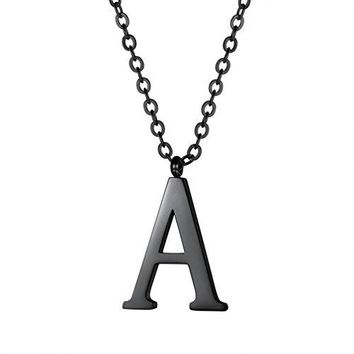 AUGUAU Initial Letter Necklace,Alphabet Name Jewelry,Men/Women,Personalized Groomsman Bridesmaid gift,Wedding Minimalist Bridal Party Graduation Gift,Stainless Steel,18K Gold Plated