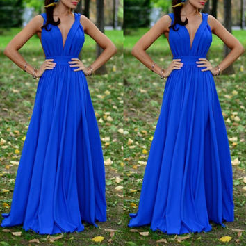 Deep V Neck Sexy Prom Dress Royal Blue Formal Evening Gown