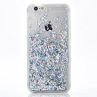 iPhone 7 Case, SUPVIN Liquid Case for iPhone 7/iPhone 8, Fashion Creative Design Flowing Liquid Floating Luxury Bling Glitter Sparkle Diamond Hard Case for iPhone 7/iPhone 8 (Silver)