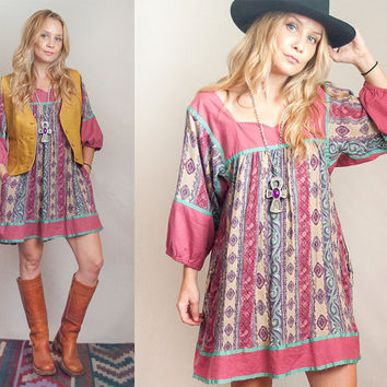 Bohemian Poet Sleeve 70s Dress - One Size | Mauve and Teal Paisley Patterned Boho Chic Midi Dress with Sleeves Fall Gypsy Loose Tunic S M L