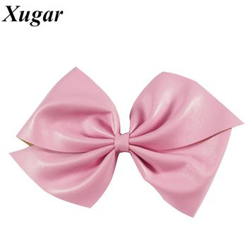 7'' Fashion Big Candy Color Synthetic Leather Hair Bow With Alligator Clip Hair Accessories For Kids Girl