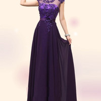 Exceptional Beauty Lace Evening Dress Ball Gown Purple