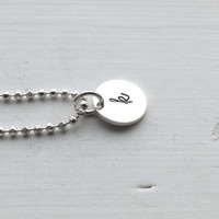 Small Initial Necklace, All Letters Available, Hand Stamped Jewelry, Letter k Necklace, Personalized Sterling Silver Jewelry, Charm Necklace