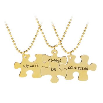 "3 pcs/set Puzzle Splice Best Friends Necklace Jewelry Letter ""we will always be connected"" Necklace Set women necklace"
