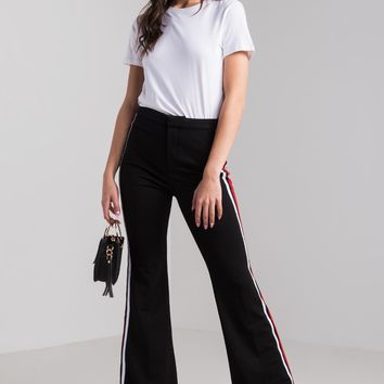 AKIRA High Rise Side Stripes Bootcut Track Pants in Black