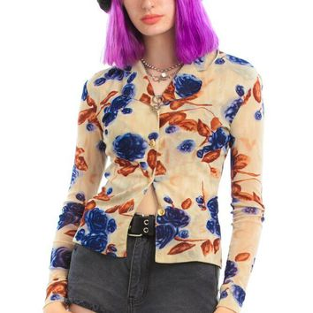 Vintage 90's Ally Mcbeal Floral Top - XS/S