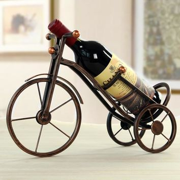 Vintage Metal Tricycle Wine Bottle Holder QUALIFIES FOR SINGLE ITEM FREE U.S. SHIPPING*