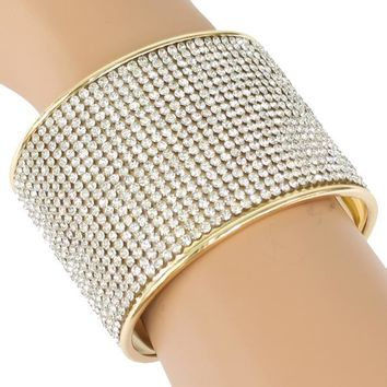 """2.20"""" height gold crystal cuff bracelet bangle bridal prom pageant"""