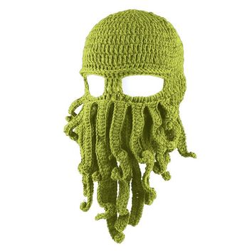 LAI MENG FIVE CATS Men Hat Ski Mask Handmade Knit Funny Hats Tentacle Octopus Cthulhu Beanie Hat Cap Wind Mask Women Christmas