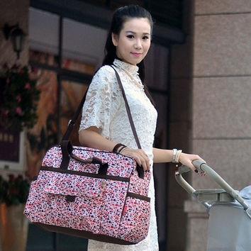 Fashion Beauty Floral Maternity Messenger Bags Multifunction Large Capacity Baby Diaper Tote Bag = 1946553156