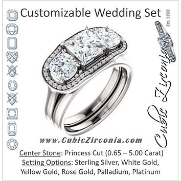 CZ Wedding Set, featuring The Aimi Namiko engagement ring (Customizable 3-stone Design with Princess Cut Center, Large Round Cut Accents, Triple Halo and Bridge Under-halo)