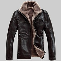 FreeShipping  Hot Sale  Winter Thick Leather Garment Casual flocking Leather Jacket Men's Clothing Leather Jacket Men 1813