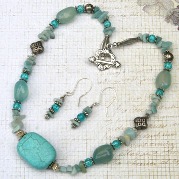 Gemstone Jewelry Sets, Teal, Turquoise, Stone, Silver, Collar, Direct Checkout, Howlite, Summer, Aqua, Chakra, Heart, Ocean, Nautical