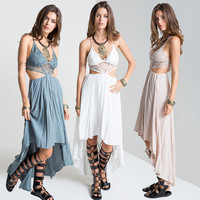 Women Boho Vestidos Summer Beach for love Dresses lemon Long Maxi Dresses Wear Cream Deep V Neck Split Slip Sleeveless dress