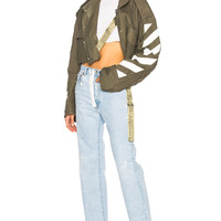 OFF-WHITE Diagonal Cropped M65 Military Jacket in Military Green | FWRD