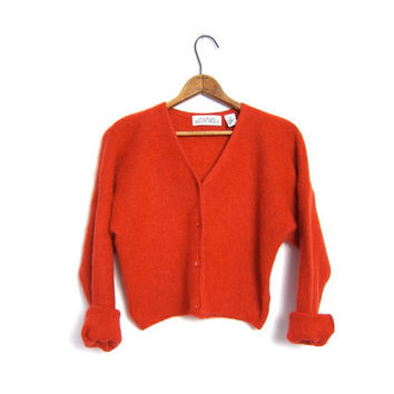 Vintage Cropped Mohair Wool Cardigan Sweater Orange Fuzzy Soft 90s Crop Top Button Up Sweater Preppy Bohemian Girl Jumper Small Medium