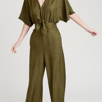 Front Tie Cropped Jumpsuit