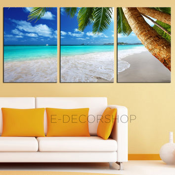 3 Piece Palm and Beach Canvas ART Print  Ready to Hang 3 Panels Stretched on Deep 3cm Frame - Blue Sea and Ocean Theme - MC151