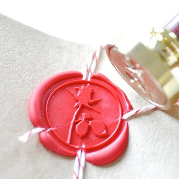 Rose with Leaf Gold Plated Wax Seal Stamp x 1