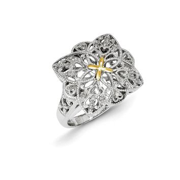 Antique Style Sterling Silver with 14k Gold 1/10ct Diamond Vintage Ring