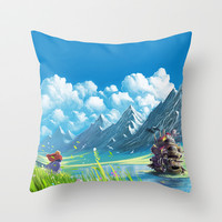 Howls Moving Castle Throw Pillow by Roberto Nieto