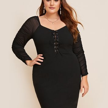 Plus Grommet Lace Up Crinkle Sheer Sleeve Fitted Dress