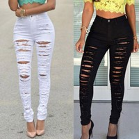Fashion Women Stretch Faded Ripped Jeans Destroyed  Hole Pencil Pants