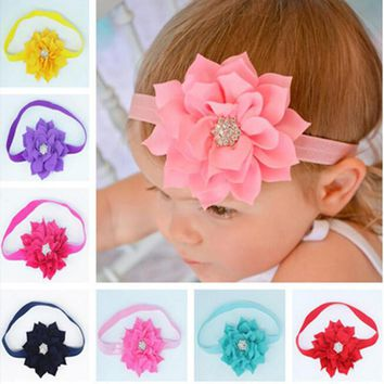 TWDVS  Kids Lotus Flower Headband With Sparkly Pear Button chiffon Headband Hair Band Hair Accessories W023