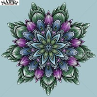 5D Diamond Painting Green and Purple Abstract Flower Kit