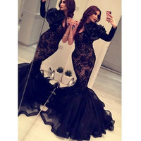 Arabic 2015 Formal Mermaid Evening Dresses  Long Sleeves Black Lace Organza Occasion Gowns Crystals Backless  Dress Sexy