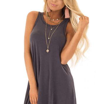 Charcoal Soft Ribbed Knit Tank Top Swing Dress