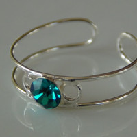 925 Sterling Silver Adjustable Toe Ring With Green Gem