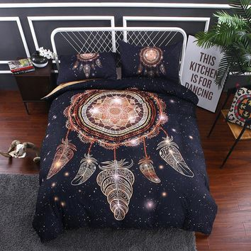 Cool Ms.O 3D Universe Galaxy Ethnic Feather Animal Full Twin Queen King Size Morocco Indian Bedding Set Duvet Cover Set Bed LinenAT_93_12