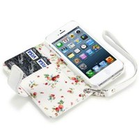 Amazon.com: IPHONE 5 PREMIUM PU LEATHER WALLET CASE WITH FLORAL INTERIOR - WHITE: Cell Phones & Accessories