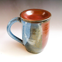 Blue & Red Ceramic Coffee Cup with Lid, Covered Handmade Pottery Mug