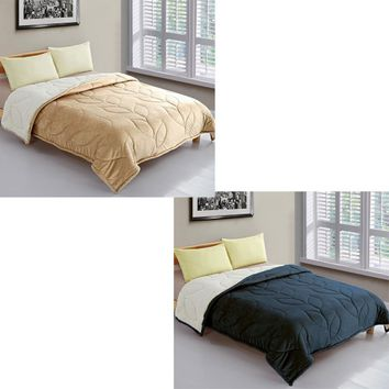 Micro Mink Comforter with Sherpa Backing Plus Bonus Pillowcases by IDC Homewares