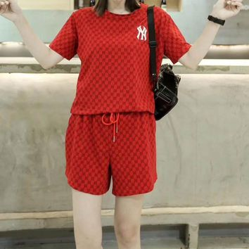 """""""NY""""Woman's Leisure  Fashion Letter Embroidery Printing Stripe  Short Sleeve Shorts Two-Piece Set Sportswear"""