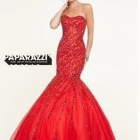 Sweetheart Beaded Tulle Mermaid Paparazzi Prom Dress By Mori Lee 97147