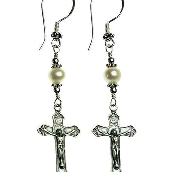 Handmade Sterling Silver Crucifix Earrings Freshwater-Cultured Pearl