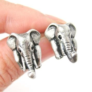 Elephant Realistic Animal Stud Earrings in Silver | Animal Jewelry