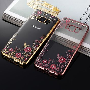 For Samsung S8 Plus S8+ Case Flower Bling Diamond Soft Silicone TPU Clear Back Cover For Samsung Galaxy S8 Plus Phone Cases