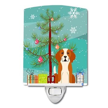 Merry Christmas Tree English Foxhound Ceramic Night Light BB4235CNL