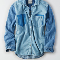 AEO Oversized Two-Tone Denim Shirt, Light Wash