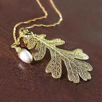 Oak Leaf Necklace Gold Oak Leaf Necklace White by DorotaJewelry