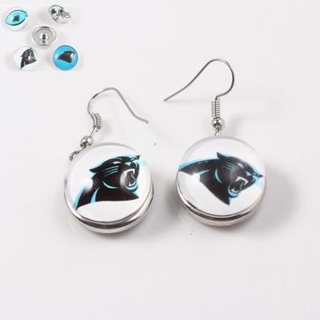 18mm Sports Snap Button Charm Earrings Carolina Panthers Pendant Earrings US Football Jewelry  For Women