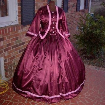 Wine Satin w/Pink Accents Civil War Dress/Tea Gown**26