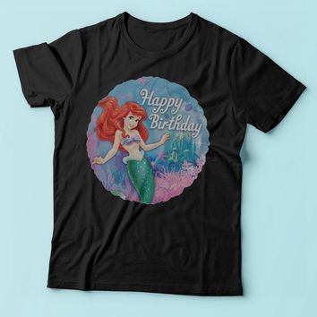 Disney Ariel The Little Mermaid Happy Birthday Men'S T Shirt