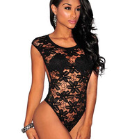 Sleeveless Sheer Mesh Cutout Detail Lace Sleepwear