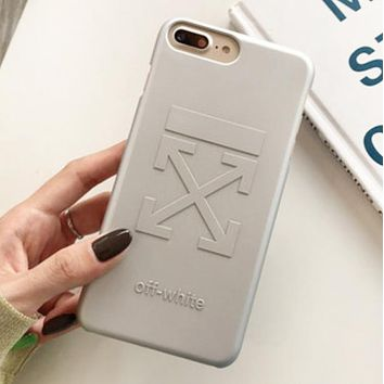Off White Fashion New Letter Hook Print Women Men Phone Case Protective Cover Silver
