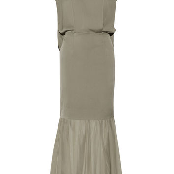 By Malene Birger - Ambrianna cape-back satin and chiffon gown